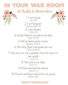 10 Truths to Remember In Your War Room Free Printable. Bible Verses to Know and Pray Prayer Closet, Prayer Room, Prayer Wall, Prayer Board, Bible Prayers, Bible Scriptures, Hope Scripture, Power Of Prayer, My Prayer