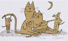 Illustration by Adolf Born (born 1930), Cats in love. (Czech)