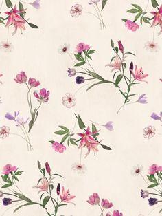 Scattered Floral on Cream Art Print by micklyn Floral Pattern Vector, Motif Floral, Ditsy Floral, Textile Patterns, Flower Patterns, Print Patterns, Textiles, Cream Art, Grafik Design