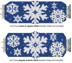 let it snow Bracelet   Free peyote or brick stitch pattern
