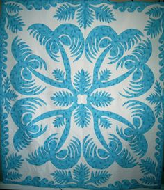 """The Wedding Quilt by eatonjan 2007. Hand appliqued and hand quilted.  Published Pattern: """"Aloha, Kathy's Hawaiian Quilt"""""""