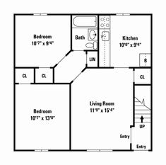 a 20' x 20' 400 sq ft 2 bedroom with 3/4 bath that i'm calling the