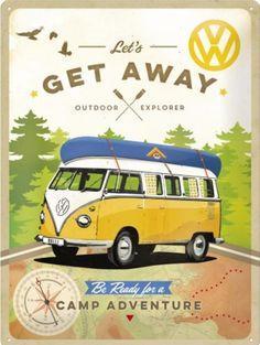 41d8ca2900f VW Lets Get Away Metalen wandbord in reliëf 30 x 40 cm