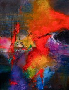 """""""Soleil Noir"""": Oil on canevas 146x114 cm - Gerard Stricher"""