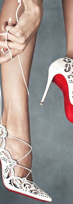 Christian Louboutin ~ Impera Lace-Up Red Sole Pumps...Gorgeous!