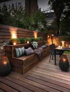 Are you looking for deck lighting ideas to transform your patio or backyard? Discover here how to transform your patio with alluring deck lighting ideas. Terrace Garden Design, Backyard Patio Designs, Garden Seating, Backyard Landscaping, Diy Patio, Backyard Ideas, Landscaping Ideas, Terrace Ideas, Cozy Backyard