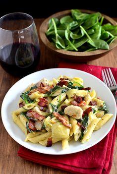 Chicken, Bacon & Artichoke Pasta with Creamy Garlic Sauce Recipe w/Gary Farrell Lancel Creek Pinot Noir