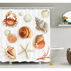 """East Urban Home Seashells Pearls and Crabs Shower Curtain Size: 69"""" H x 70"""" W"""