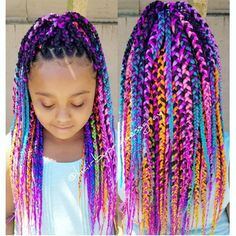15 Kid-Friendly Curly Hairstyles Rainbow Box Braids – Hair styles for naturally curly coily kids Box Braids Hairstyles, Lil Girl Hairstyles, Black Kids Hairstyles, Cute Curly Hairstyles, Kids Braided Hairstyles, Curly Hair Styles, Natural Hair Styles, Hairstyles Videos, Kids Box Braids
