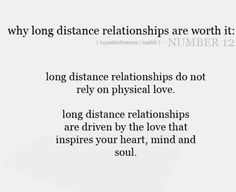 long distance relationships...