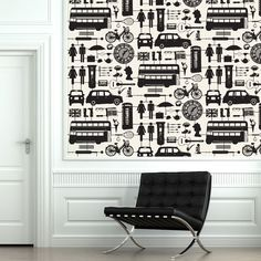 Airfix London Wallpaper Black on Cream - Victoria Eggs