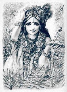 Krsna is the constant object of the Vraja gopis' meditation. Lord Krishna Images, Radha Krishna Pictures, Radha Krishna Photo, Krishna Art, Lord Krishna Sketch, Krishna Drawing, Krishna Painting, Radha Krishna Sketch, Krishna Leela