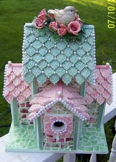 I ❤ mosaics . . .  (gorgeous with hand made kiln fired tiles!) Over All Favorite Winner EMA for the BIRDS CHALLENGE Shabby Pink Chic Birdhouse by CMK