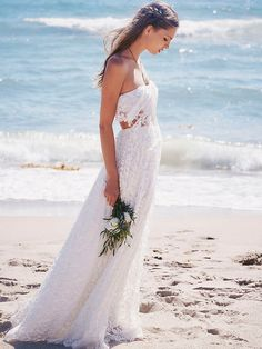 Two-piece lace maxi with embroidered sheer tulle - perfect for the bohemian bride // Ever After: Free People's First Bridal Collection