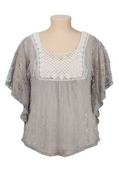 Crochet Trim Lace Top - maurices.com, the back on this is open, cute!
