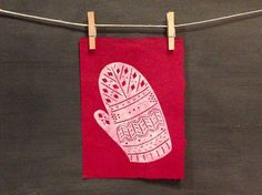 Items similar to Lost Mitten - Hand Printed - Linocut on Etsy Christmas Greetings, Christmas Crafts, Linoleum Block Printing, Wooden Spoon, Lino Cuts, Lino Prints, Workshop Ideas, New Year Card, Woodblock Print