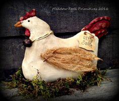 Primitive Folk Art Little Sadie HenSpringShelf by MeadowForkPrims