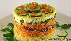 Самые вкусные рецепты: Слоеный салат с копченым лососем и красной икрой