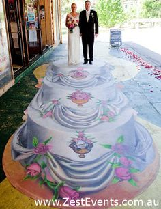 Bride and Groom on the top of their wedding cake, 3D Illusion on canvas by Anton Pulvirenti