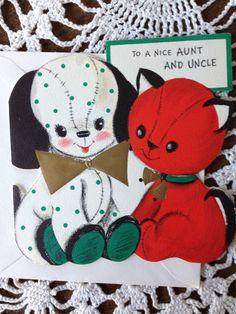 Vintage Hallmark Die Cut Christmas Greeting Card Dog Cat to Aunt & Uncle EB4269