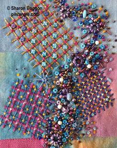 hand embroidery detail on needlework sampler Ribbon Embroidery, Beaded Embroidery, Embroidery Stitches, Embroidery Patterns, Stitch Patterns, Embroidery Sampler, Crazy Quilt Stitches, Cross Stitches, Geek Cross Stitch