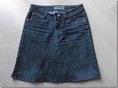 Jean troué transformé en jupe 100% récup - Les Bricoles de l'Arsouille                                                                                                                                                     Plus
