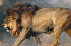 Sir Edwin Landseer, Study of a Lion, 1862, oil, 914 x 1378 mm, Tate. Painted from life from a live animal, probably in less than an hour.