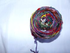Not shy!  Core spun art yarn multi color with all the wool and all the silk. Worsted weight.  OOAK  unrepentant and unrepeatable.  4oz