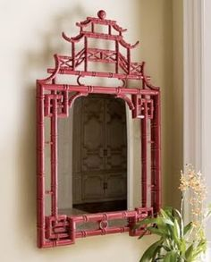 "Pagoda Mirror at Horchow. Another aspect of Hollywood Regency Design is the use of Chinoiserie, a French term, signifying ""Chinese-esque"", which refers to a recurring theme in European artistic styles, which reflect Chinese artistic influences. Decor, Furniture, Bamboo Mirror, Home, Chinoiserie Furniture, Asian Mirrors, Chinoiserie Chic, Mirror, Asian Home Decor"
