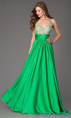 Long Open Back V-Neck Dress by Johnathan Kayne at SimplyDresses.com