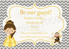 Great Beauty And The Beast Invitation By FrostyCupcakeDesign On Etsy, $15.00