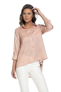 High Low Button Down Shirt 100% Linen with Dual Welt Pockets at Chest…