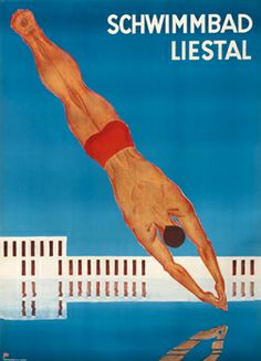 Otto Plattner poster: Schwimmbad Liestal Vintage Ads, Vintage Posters, Poster Ads, My Heritage, Switzerland, Packaging Design, Swimming Pools, Aqua, Graphic Design