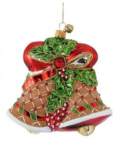 Ginger Belle-JingleNog-mouth blown Polish glass gingerbread bell Christmas ornament- front view