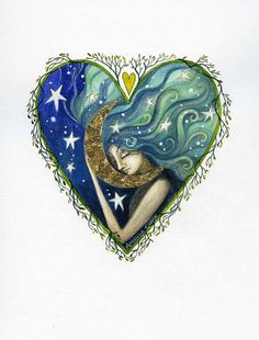Heart art print.' The Moon and the Stars'  By by earthangelsarts, £15.00