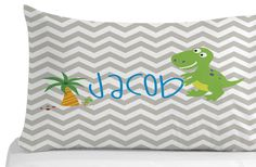 Dinosaur Pillow Case Chevron Pattern Pillow by Kids Pillows, Animal Pillows, Throw Pillows, Kids Bedroom, Bedroom Decor, Personalized Pillow Cases, Animals For Kids, Chevron, Pillow Covers