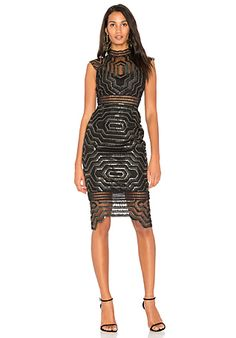 SAYLOR Heloise Embellished Midi Dress in Black & Gold | REVOLVE