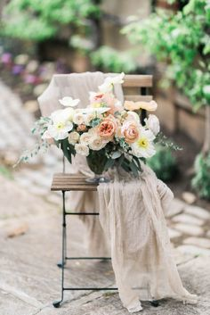 Peach and pale yellow floral centerpiece