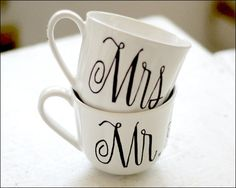 """Mr and Mrs coffee mugs for morning of """"good morning, love"""" photos. With hearts for periods and wedding date"""