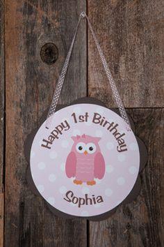 Owl Door Sign Birthday Party - Pink & Brown