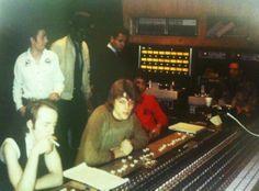 The Clash, Futura 2000, Fab 5 Freddy and Dondi White recording The Escapades Of Futura 2000 in the studio.