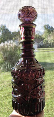 70s-VINTAGE-Purple-Glass-Bonded-JIM-BEAM-BOURBON-WHISKEY-DECANTER-Bottle