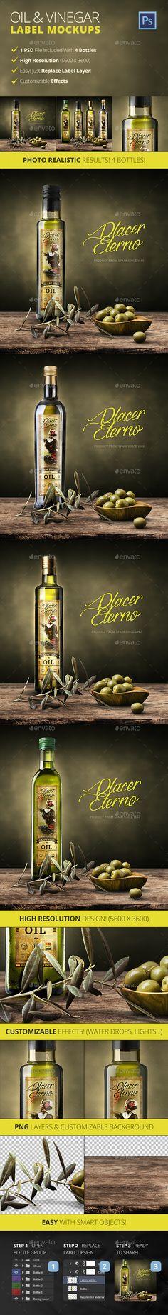 Olive Oil And Vinegar Bottle Label Mockup — Photoshop PSD #render #packaging • Available here → https://graphicriver.net/item/olive-oil-and-vinegar-bottle-label-mockup/12817024?ref=pxcr