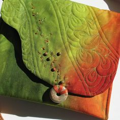 Fiber Art Purse  Handdyed Quilted Stitched by KathyKinsella,