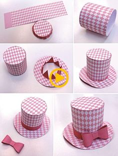 Diamond mini top hats Five DIY hats to make in fun, fresh pastel colors. Super cute fascinator or party favors … Crazy Hat Day, Crazy Hats, Paper Hat Diy, Paper Hats, Papier Diy, Alice In Wonderland Tea Party, Crafts For Kids, Diy Crafts, Diy Tops