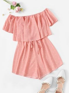 Shein Ruffle Trim Polka Dot Off The Shoulder Playsuit Cute Girl Outfits, Cute Casual Outfits, Girly Outfits, Cute Summer Outfits, Grunge Outfits, Pretty Outfits, Stylish Outfits, Kids Outfits, Casual Dresses