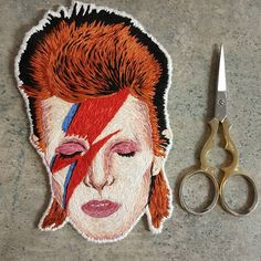 """David Bowie embroidery by Haley (@haleydicken) on Instagram: """"Finally finished. Not too shabby for a first time realistic portrait. Just need to do a few more…"""""""