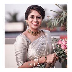 Check out these latest bridal kanchipuram silk sarees by the brand Milan Design. Kerala Wedding Saree, South Indian Bride Saree, Kerala Bride, Bridal Silk Saree, Wedding Sari, Silk Sarees, Desi Wedding, Indian Sarees, Christian Wedding Sarees