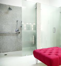 """ModRocks Recycled Glass pebbles sustainable clear pebble tile. Idea only for shower wall in Brad's bath to change up the personality a bit. Always using the 24x24 Atlas Concorde Fibra tile in """"Lead"""" color for the rest of the bathroom."""