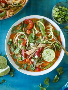 Chicken Zoodle Soup - Thai Chicken Zucchini Noodle Soup